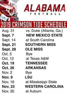 2019 Crimson Tide football schedule Alabama Crimson Tide Schedule, Alabama Football Schedule, Alabama Football Quotes, Crimson Tide Football, Ua Football, College Football, Univ Of Alabama, Alabama Logo, Alabama Decor