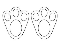 Easter Bunny paw print pattern. Use the printable outline for crafts, creating…