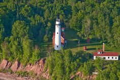 Great Lake Lighthouse: Outer Island Lighthouse, Apostle Islands, Wisconsin (1874) Across the bay where I grew up...