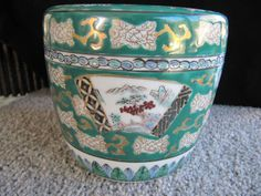 Vintage Hand Painted Gold Imari Pot Green and by TwoCatsVintage, $50.00