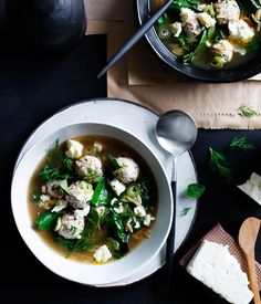 Tiny chicken meatball and orzo soup with silverbeet and feta recipe :: Gourmet Traveller