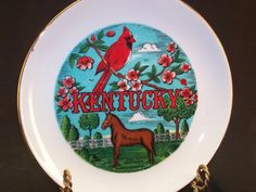 Kentucky Porcelain Ceramic State Souvenir Plate Gold Trim by Scotty   by GarageSaleGlass, $15.99