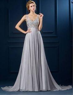 0fbd66de2d4 a line straps gown - Google Search Gray Formal Dress