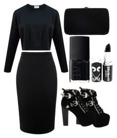 """BlackEverything"" by shaaasayutii on Polyvore featuring Alexander McQueen, Jeffrey Campbell, Sergio Rossi and NARS Cosmetics"