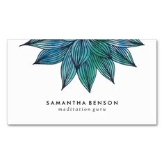 Blue Lotus Flower | Floral Watercolor Business Card Template - Business Cards