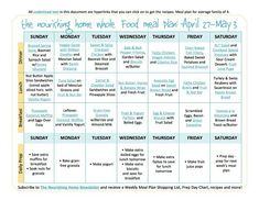 April 27-May 3 Meal Plan TNH
