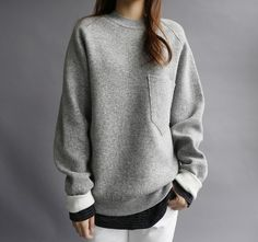 Grey Pocket Sweatshirt + Black & Grey Striped Long Sleeve Top + White Jeans