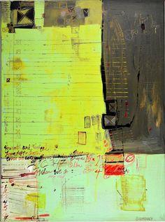 "'Check List', 24"" x 18"", acrylic, ink on canvas, (c) 2014 Barbara Gilhooly, $1200."