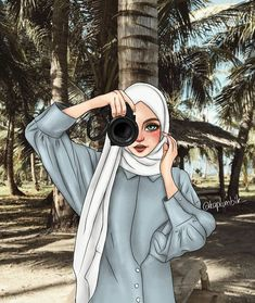 A scarf is the central portion inside the clothes of women along with Hijab Anime, Anime Muslim, Hijabi Girl, Girl Hijab, Girl Cartoon, Cartoon Art, Hijab Drawing, Islamic Cartoon, Hijab Cartoon