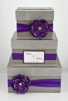 3 tier wedding card box - purple