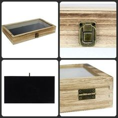 Wood Box Jewelry Case Storage Display Glass Top Lid Showcase Ring Travel Gift US Case Knives, Jewelry Case, Travel Gifts, Wood Boxes, Display, Ring, Storage, Glass, Top
