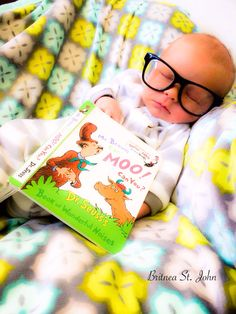 Newborn baby boy pic. Use daddy's glasses and pick his fav Seuss book!