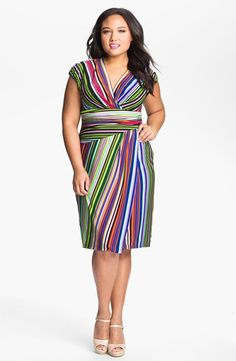 Plus Size Fashion For Women -- Short, multi-colored striped dress, with cap sleeves.