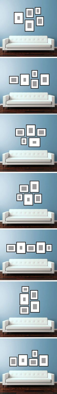 picture wall layouts to hang above your sofa