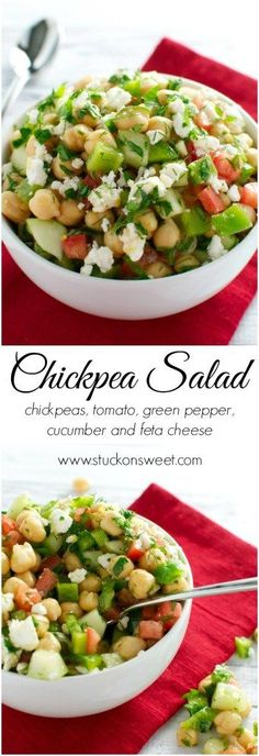 Chickpea Salad - a refreshing Summer salad recipe that's healthy and easy! | www.stuckonsweet.com