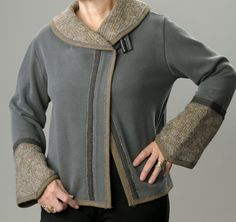 $65 for this cozy swetshirt jacket trimmed with a felted sweater.  Flattering shape - by LondasCreativeSewing on Etsy