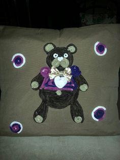 cuscino con orsetto ciniglia