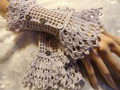 Silver Gray Fine Crochet Gothic Vampire Steampunk by Scarletrabbit, $25.00
