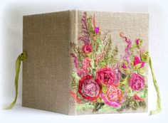 Wedding guest book Embroidered guest book Textile by Indrasideas, $98.00