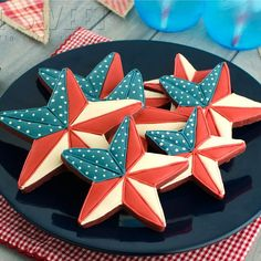 Patriotic Barn Star Cookies – Semi Sweet Designs