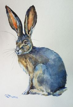 Jack Rabbit Original Watercolor Painting, bunny, hare, rabbit, animal by alisiasilverART on Etsy