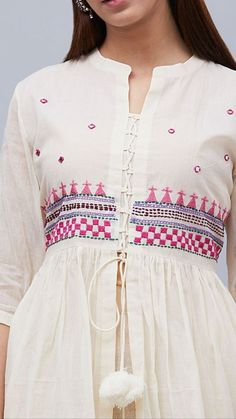 Beautiful detailing with embroidery and dori-latkan. - Beautiful detailing with embroidery and dori-latkan. Simple Dresses, Casual Dresses, Fashion Dresses, Summer Dresses, Pakistani Dresses, Indian Dresses, Anarkali Dress, Indian Clothes, Dress Neck Designs