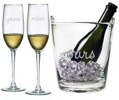 A wonderful gift for weddings, anniversaries or Valentine's Day.  The Ice Bucket and two Champagne Flutes are sand etched by hand.