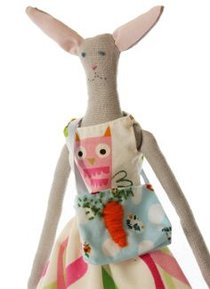 Handmade Upcycled Cloth Bunny Doll With 2 Outfits by PatchyPals, $80.00