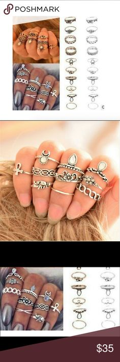 New Item! Antique Silver Boho Midi Ring Set Brand NWT in original packaging 10 rings in this set!  Vintage look, retro silver tone, each ring is unique & semi precious stones!  Nickel & lead free Midi rings great for wearing above the knuckle, layer them, stackable or simply solo! Sizes vary Bundle & save! Jewelry Rings