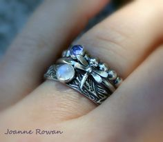 Mini Dragonfly Stack...Set of Three Stacking Rings by joannerowan