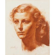 Lot 140 - § GERALD LESLIE BROCKHURST (BRITISH 1890-1978)HEAD AND SHOULDER PORTRAIT OF A YOUNG WOMANSigned and