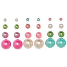 12 Pairs Faux Pearl Earring Studs In Multi/Pastel . $5.99
