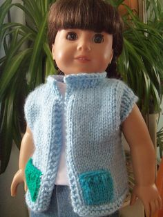 Crochet Dolls Clothes Ravelry: Summer Vest for American Girl Dolls free pattern by Janet Longaphie - Knitting Dolls Clothes, Ag Doll Clothes, Crochet Doll Clothes, Doll Clothes Patterns, Dress Patterns, American Girl Crochet, American Girl Crafts, American Doll Clothes, American Girls