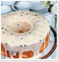 Vanilla Cake with Granadilla Cream Cheese Topping SA Favourites Recipes Bakery Recipes, Dessert Recipes, Cooking Recipes, Desserts, Fruit Recipes, Cupcakes, Cupcake Cakes, Bunt Cakes, Cream Cheese Topping