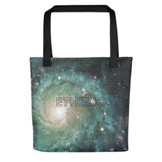 Green Galaxy Tote #ethericlife #astronomygifts #astrologygifts #astronomy #geekgifts #scichic #scifigifts #universe #galaxy