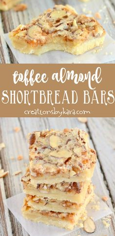 Almond Toffee Bars - buttery shortbread with an ooey gooey topping filled with toffee bits and almonds. A scrumptious bar recipe! #dessert #toffee #shortbread
