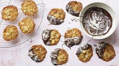 Ginger and almond florentines recipe - BBC Food Chocolate Bowls, Salted Chocolate, Chocolate Coating, Crystalized Ginger Recipe, Nadiya Hussain Recipes, Florentines Recipe, Peanut Butter Squares, Christmas Biscuits, Biscuit Recipe