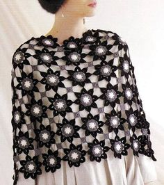 Free Shawl Crochet Pattern with a Flower Motif. Crochet Slipper Boots, Crochet Slippers, Crochet Cardigan, Knit Or Crochet, Crochet Scarves, Crochet Motif, Crochet Clothes, Crochet Flowers, Crochet Shawls And Wraps