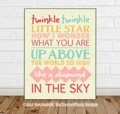 PRINTABLE Any Size Twinkle Twinkle Little Star Typography Baby Girl Nursery Rhyme Children's Wall Art Decor Baby Shower Gift for Her on Etsy, $12.99