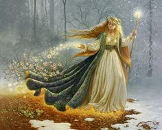 Brigid, the Goddess of Imbolc bringing the stirrings life back to Mother Earth during winter