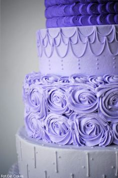Purple Buttercream Cake - never thought about combining different textures on different layers like this.