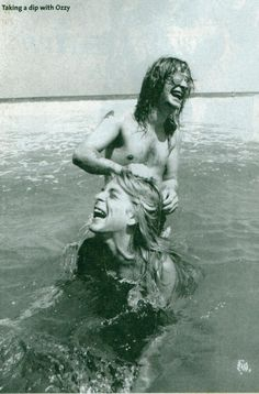 Ozzy Osbourne & Randy Rhoads. What a great candid shot. Still remember hearing the news when the plane crashed.