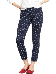 White Anchor patterned skinny crop pants in blue