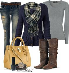 Navy Blue and Plaid. Love the boots. Wouldn't have the tears in the jeans, though