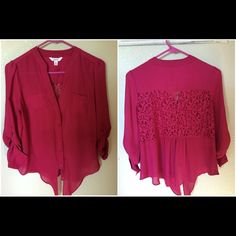 Magnets/pink blouse with lace detail Like new has 3/4 sleeves Candie's Tops Blouses