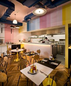 Colour blocking bright stripes at Byron Restaurant in Charing Cross.