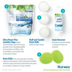 Norwex laundry cleaning detergent has no fillers, dryer balls save so much money and the stain remover is amazing
