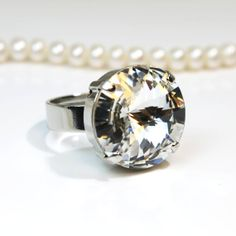 Clear Crystal Bridal Adjustable Ring Geometric by TIMATIBO on Etsy, $19.00