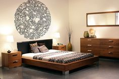 BoConcept bed - cool wall decal above