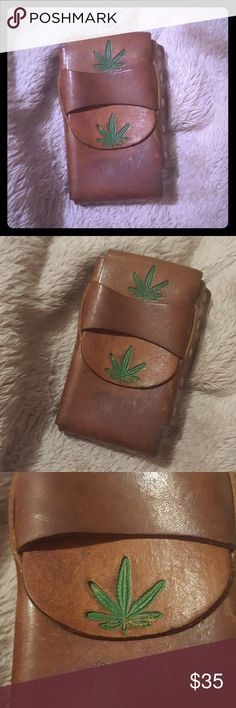 f99074d4f43 ... Case Cognac Colored Leather Case Mary Jane Plant Carved On Case Silver  Rivets Around Case Excellent Condition Long with Flap Closed Vintage  Accessories